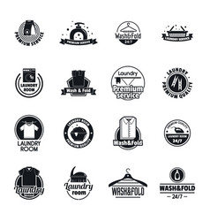 laundry logo service icons set simple style vector image