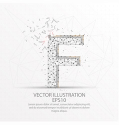 letter f form low poly wire frame on white vector image
