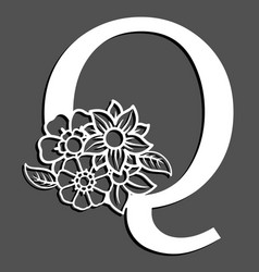 Letter silhouette with flowers letter q vector