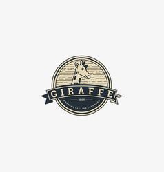 logo giraffe head vintage badge style vector image