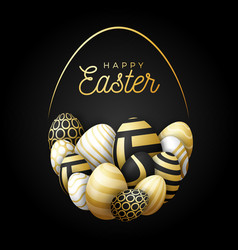 luxury happy easter card with eggs many beautiful vector image