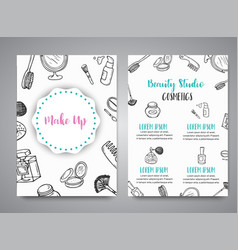 make up hand drawn brochures doodle beauty vector image