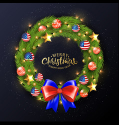 merry christmas 2019 poster christmas wreath vector image