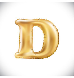 Metallic gold d balloons golden letter new year vector