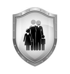 Metallic shield with black silhouette of family vector