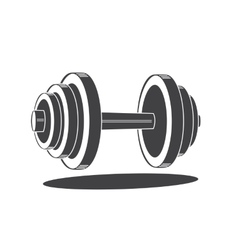Monochrome dumbbell icon vector