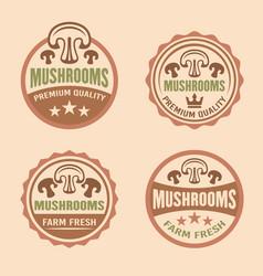 mushrooms premium quality labels stickers vector image