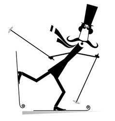mustache man in the top hat a skier vector image