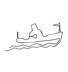One continuous line steamship boat on waves with vector