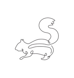 one single line drawing cute squirrel vector image