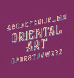 Oriental art typeface decorative font isolated vector