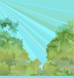 painted summer sky background with greens and rays vector image