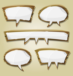 paper signs on wood speech bubbles set vector image