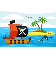 pirate ship sailing towards treasure island vector image