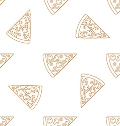 pizza slice outline seamless pattern vector image