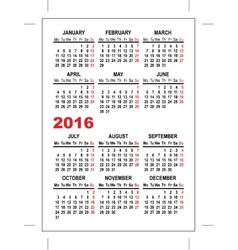 Pocket calendar 2016 template vector