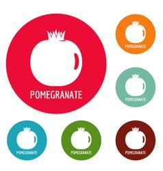 Pomegranate icons circle set vector