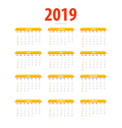 Printable calendar 2019 simple template halftone vector