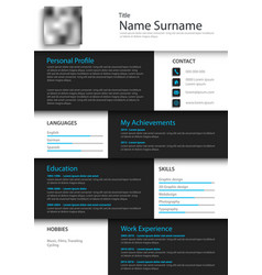 Professional personal resume cv in white black vector