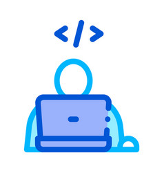 programmer coding laptop thin line icon vector image