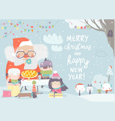 santa claus drinking tea with happy children vector image