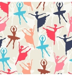 Seamless pattern of ballerinas silhouettes in vector