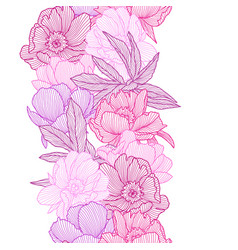 seamless pattern with linear peonies beautiful vector image