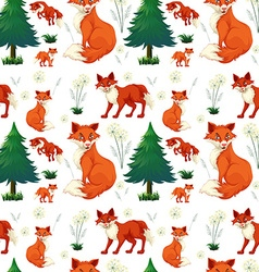 Seamless red fox and pine tree vector image