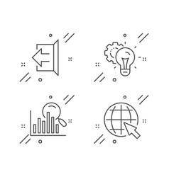 Search idea gear and sign out icons set internet vector