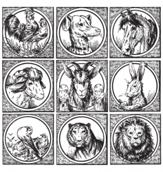 set antique animals engravings vector image