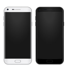 Set black and white smart phone with empty vector