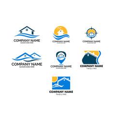 set of beach house logo design template vector image