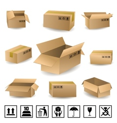 Shipping Boxes Set vector image
