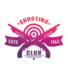 shooting club emblem with two crossed shotguns vector image