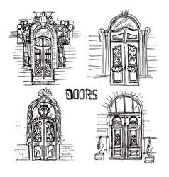 sketch of doors vector image