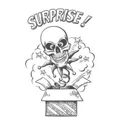 skull jumping out box vector image