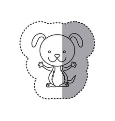 Sticker of grayscale contour of dog vector
