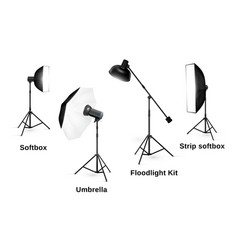 Studio lighting equipment isolated on white vector