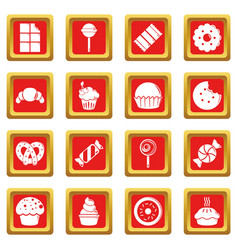 Sweets candy cakes icons set red square vector