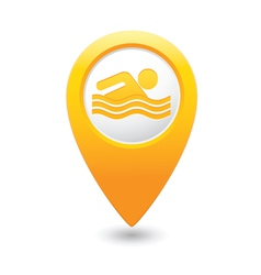 Swiming icon yellow map pointer vector