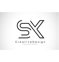 Sx s x letter logo design in black colors vector
