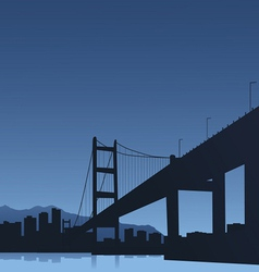 The big city and the bridge on a blue background vector