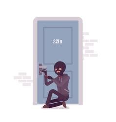 Thief ineffectually lockpicking the door vector image