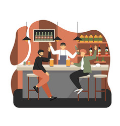 two young men sitting at bar counter and drinking vector image