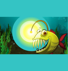 Underwater scene with anglerfish cartoon character vector