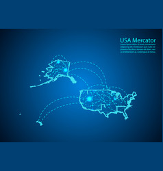 Usa mercator map with nodes linked by lines vector