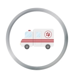 Veterinary ambulance icon in cartoon style vector