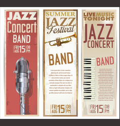 Vintage jazz banner collection vector