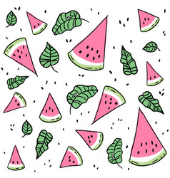 Watermelon slices and leaves seamless pattern vector