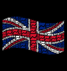 Waving great britain flag collage of analytics vector